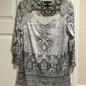 Style & Co. Black & White Printed Tunic Top